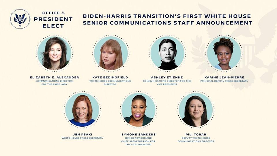 For the first time, the communication team will be all women.