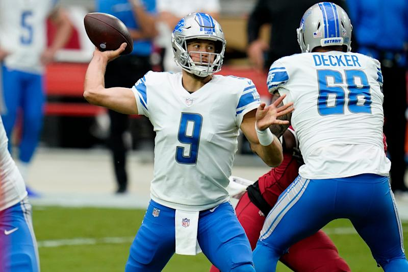 Lions quarterback Matthew Stafford throws during the first half on Sunday, Sept. 27, 2020, in Glendale, Ariz.
