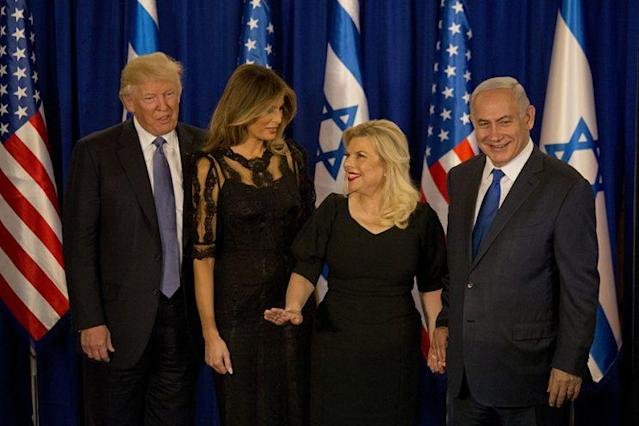 President Trump and his wife, Melania, and Israeli Prime Minister Benjamin Netanyahu and his wife, Sara, in Jerusalem. (Photo: AP Photo/Ariel Schalit)