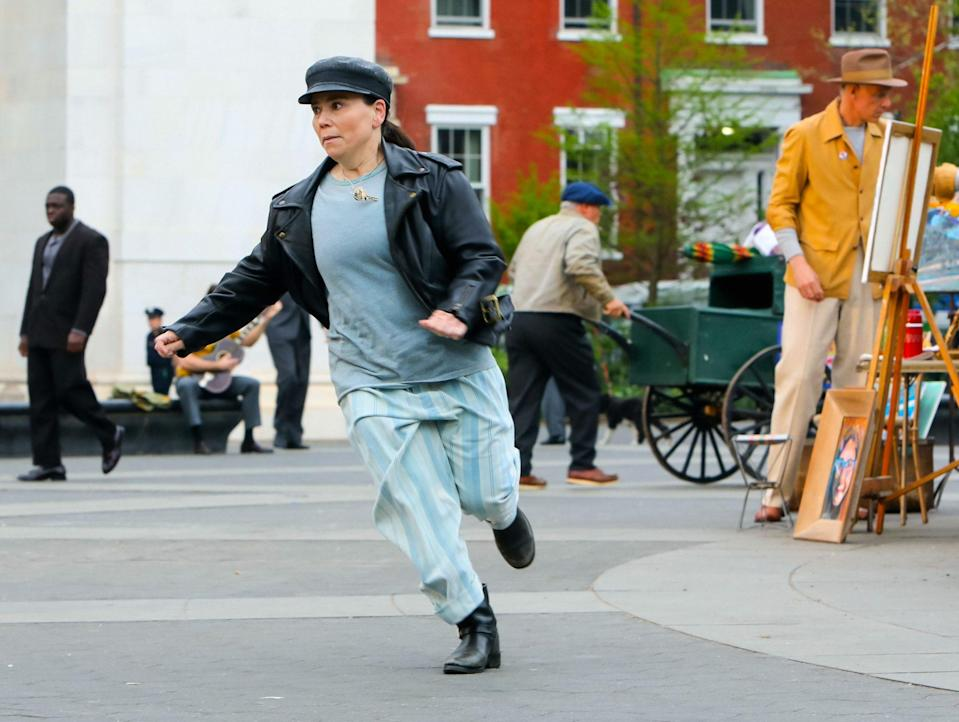 <p>And that day, Borstein, also in leather, did a bit of running around. </p>