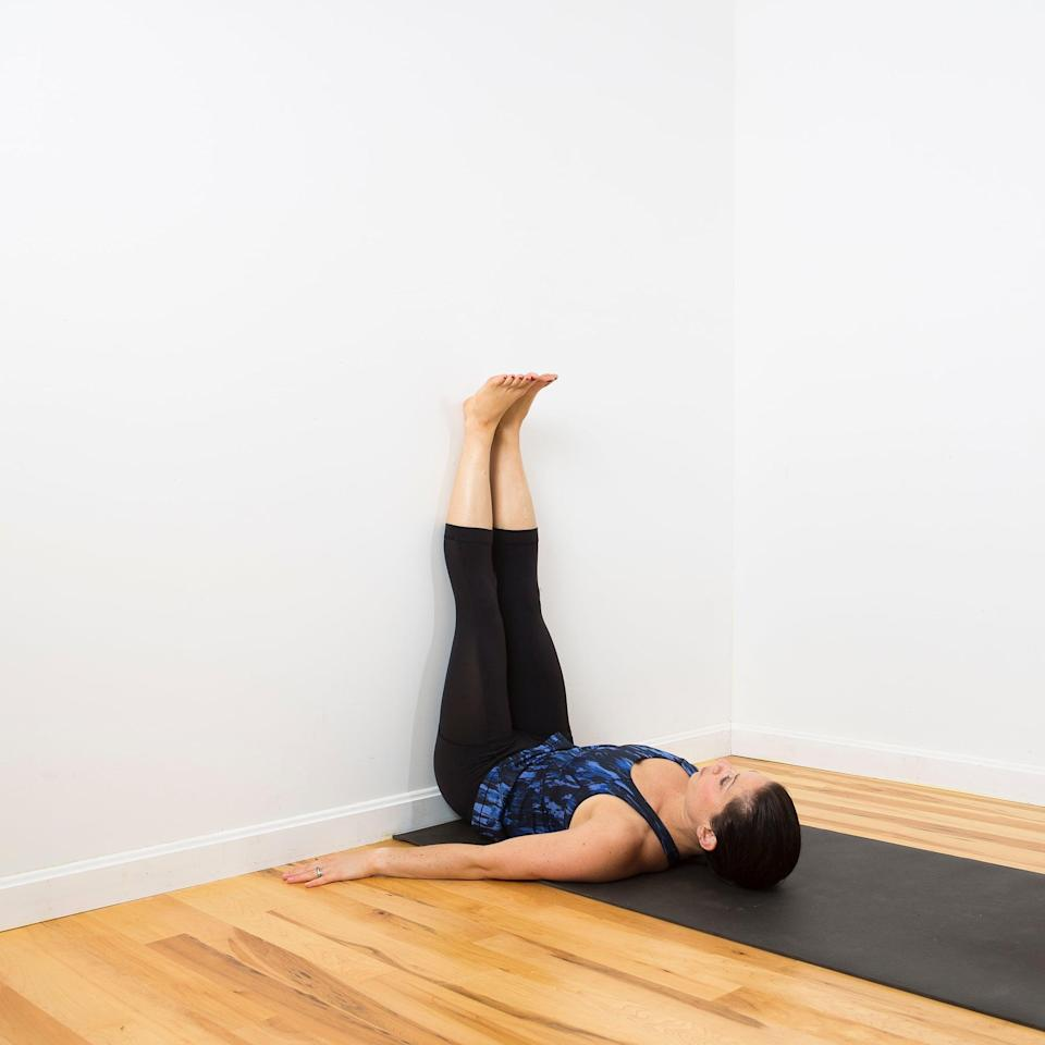 "<p>Want to start the day fresh? ""Holding this quiet restorative pose and focusing on the breath can help calm body and mind,"" said yoga instructor <a href=""https://msha.ke/chellesmithyoga/"" class=""link rapid-noclick-resp"" rel=""nofollow noopener"" target=""_blank"" data-ylk=""slk:Michelle Smith"">Michelle Smith</a>, RYT 200. The inverted nature of this pose uses gravity to naturally encourage circulation, she said.</p> <ul> <li>Sit down as close as you can to a wall. Lie down on your back, place your feet on the wall with your knees bent, and scoot your butt against the wall.</li> <li>Extend your feet straight up, resting your heels on the wall. Keep your arms by your sides or by your head (this position will stretch your shoulders).</li> <li>Close you eyes and allow your entire body to relax, feeling gravity pulling you down as the wall supports you, holding for five or more breaths.</li> </ul>"