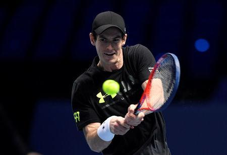 FILE PHOTO: Tennis - ATP World Tour Finals Preview - The O2 Arena, London, Britain - November 11, 2017 Great Britain's Andy Murray during practice Action Images via Reuters/Tony O'Brien