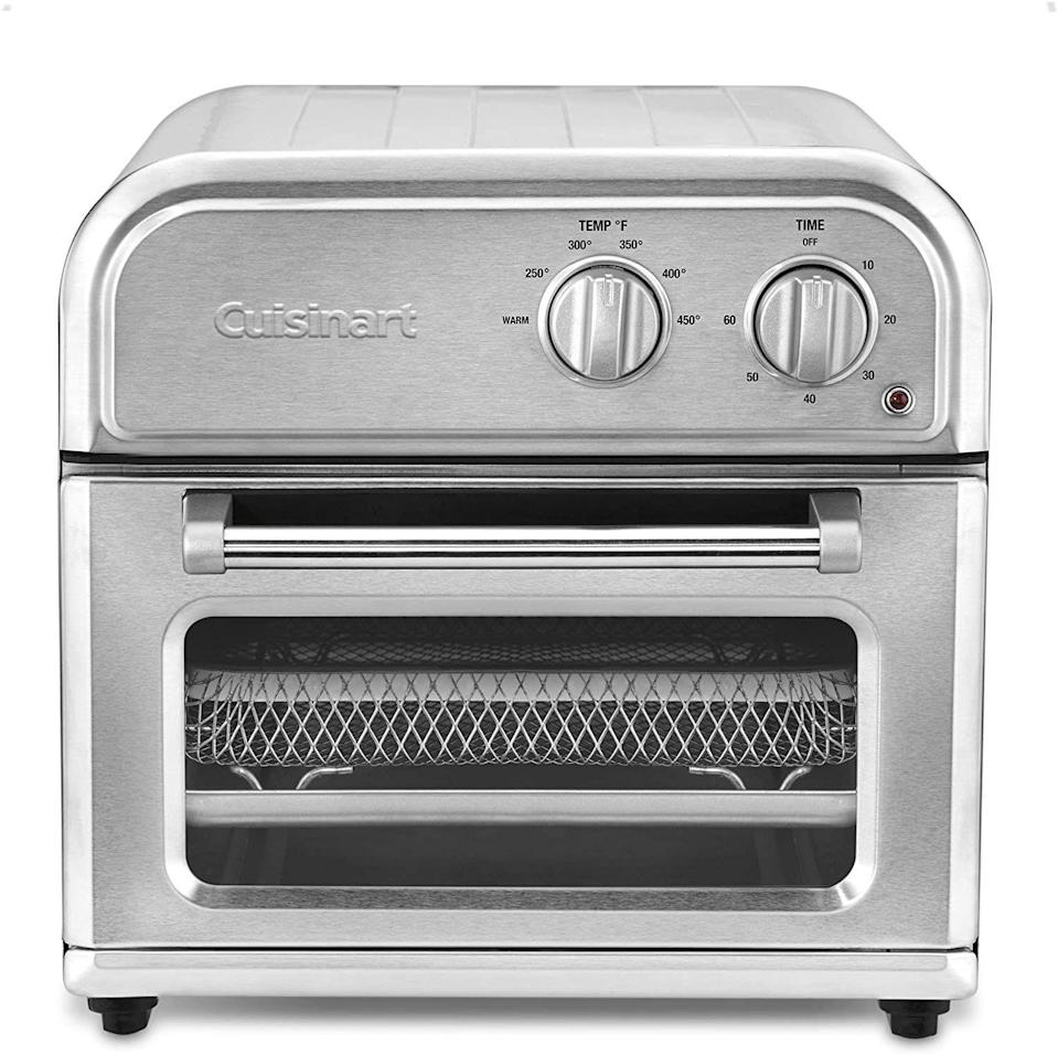 "<p><strong>Cuisinart</strong></p><p>amazon.com</p><p><strong>$79.99</strong></p><p><a href=""https://www.amazon.com/dp/B07JBLY2D2?tag=syn-yahoo-20&ascsubtag=%5Bartid%7C10054.g.34807544%5Bsrc%7Cyahoo-us"" rel=""nofollow noopener"" target=""_blank"" data-ylk=""slk:BUY IT HERE"" class=""link rapid-noclick-resp"">BUY IT HERE</a></p><p>Cuisinart is beloved for their sleek, top-of-the-line kitchen appliances. Their AFR-25 airfryer is no exception. This sleek high-tech air fryer is one of the most silent on the market. Slightly smaller in size, this is a better option if you're cooking for one or two. As one reviewer put it: ""I live alone and like eating healthy. It's perfect for making small batch meals or reheating leftovers (I don't do microwaves).""</p>"