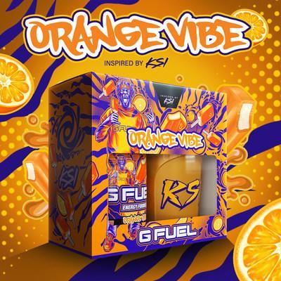 """Caption: G FUEL, The Official Energy Drink of Esports®, and KSI, world-famous YouTuber, rapper, and Boxer, are back for round two with Orange Vibe -- now available for pre-order at gfuel.com through August 2nd while supplies last. G FUEL Orange Vibe tastes like an energizing and liquified orange cream ice pop and is named after KSI's catchy """"Bad Lil Vibe"""" song from his best-selling debut studio album, Dissimulation."""