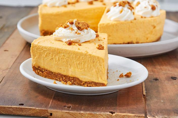 """<p>The gingersnap crust is a must.<br></p><p>Get the recipe from <a href=""""https://www.delish.com/cooking/recipe-ideas/a28497825/easy-no-bake-pumpkin-cheesecake-recipe/"""" rel=""""nofollow noopener"""" target=""""_blank"""" data-ylk=""""slk:Delish"""" class=""""link rapid-noclick-resp"""">Delish</a>.</p>"""