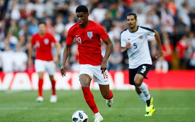 """Result: England 2 (Rashford 13', Welbeck 76') Costa Rica 0 To Russia with love. England took their final World Cup warm-up game on the road and got the strongest of send-offs - both on and off the pitch. In the stands at Leeds United's Elland Road stadium there were throwback songs to Euro 96 and """"Football Coming Home"""", a raucous party atmosphere and even pantomime boos for the host of Manchester United players on show. This was Leeds, after all. It was confirmation that England away from the up-for-sale Wembley might well be a very good idea. One of those United players, Marcus Rashford, then went on to produce such a scintillating performance against fellow World Cup contestants Costa Rica that he made a powerful case for forcing his way into the starting line-up when England's campaign begins a week on Monday against Tunisia in the heat of Volgograd. It is assumed that Raheem Sterling will be tasked to be the forward player working closest to Harry Kane, but Rashford scored a superb goal and contributed to the second, claimed by substitute Danny Welbeck, in a relentless performance. There is, finally, healthy competition. That was Welbeck's eighth goal in 12 appearances for England and he confirmed his worth in the squad, a threat from the bench, while there were positives just about everywhere for Gareth Southgate. The manager knows the real work is about to begin, the real pressure is about to kick in, but England at least have the semblance of a team with a structure, with a belief and with depth. And, and this is all too rare, they appear to be enjoying it. The shackles were off. Who stood tall and who wilted in World Cup warm-up win against Costa Rica at Elland Road? Not least Ruben Loftus-Cheek who played with a creative elegance and assurance and departed having completed every one of the 34 passes he attempted. Considering how high up the pitch the midfielder plays that was an impressive achievement for the 22 year-old. There was more. If Southgate's 10 c"""