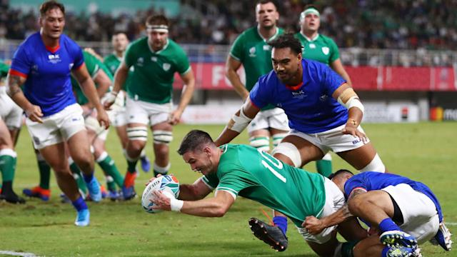 Ireland will face New Zealand or South Africa in a Rugby World Cup quarter-final after hammering Samoa despite Bundee Aki's red card.