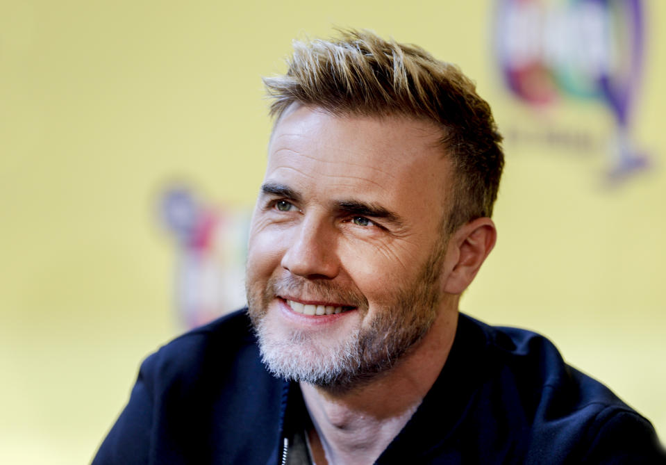 """BERLIN, GERMANY - APRIL 01: Take That singer Gary Barlow during the photocall """"The Band - Das Musical"""" with the main cast and members of the band Take That at Theater des Westens on April 1, 2019 in Berlin, Germany. (Photo by Isa Foltin/Getty Images)"""