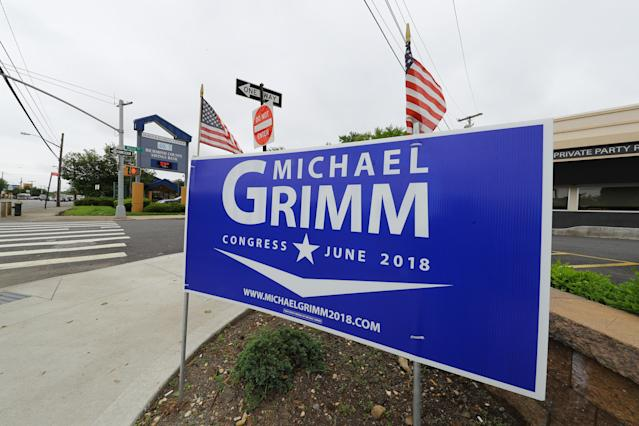 A campaign poster supporting Republican Michael Grimm for Congress is displayed on Staten Island, N.Y. (Photo: Gordon Donovan/Yahoo News)