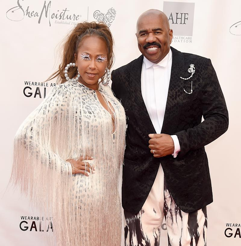 SANTA MONICA, CA - JUNE 01: Steve Harvey and Marjorie Elaine Harvey arrive at the WACO Theater Center's 3rd Annual Wearable Art Gala at The Barker Hangar at Santa Monica Airport on June 1, 2019 in Santa Monica, California. (Photo by Gregg DeGuire/Getty Images)