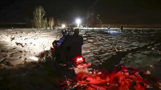 <p>In this photo provided by the Russian Emergency Situations Ministry, RMES employees work at the scene of a AN-148 plane crash in Stepanovskoye village, about 40 kilometers (25 miles) from the Domodedovo airport, Russia, Feb. 11, 2018. (Photo: Russian Ministry for Emergency Situations photo via AP) </p>