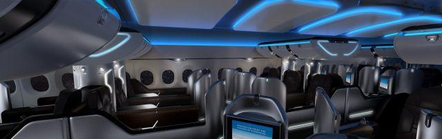 "<b>The C&D Zodiac concept cabin</b><br>C&D Zodiac's new business class cabin has a high-vaulted ceiling and new efficiencies. Instead of two double rows walking through, the cabin rows zig-zag around the seats, meaning each person has more space and distance and boarding is sped up, as each seat has a private overhead bin.<br><br><b>ALSO READ:</b> <a target=""_blank"" href=""http://in.lifestyle.yahoo.com/10-busiest-airports-in-the-world-.html"">World's busiest airports</a>"