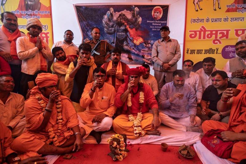"Membri dell'Akhil Bharat Hindu Mahasabha al ""gaumutra"" (urina di vacca) party a New Delhi, India, 14 marzo 2020. REUTERS/Danish Siddiqui"