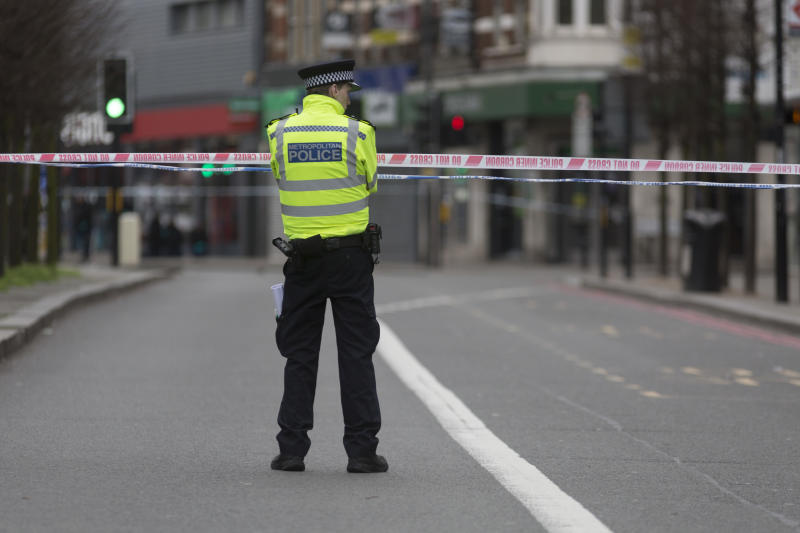 The Streatham High Road remains closed 24hrs after the terrorist attack in south London, in which Sudesh Amman, 20, was shot dead by police after stabbing people, on 3rd February 2020, in London, England. Amman had been released from prison a week ago after serving half of a sentence for terror offences, and was under police surveillance. Three people were injured but none is in a life-threatening condition.