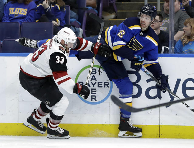 St. Louis Blues' Zach Sanford, right, gets tangled up with Arizona Coyotes' Alex Goligoski (33) during the second period of an NHL hockey game, Tuesday, March 12, 2019, in St. Louis. (AP Photo/Jeff Roberson)