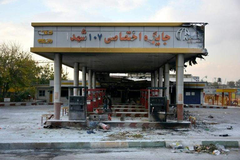 Protesters torched this petrol station in Eslamshahr near Tehran (AFP Photo/-)