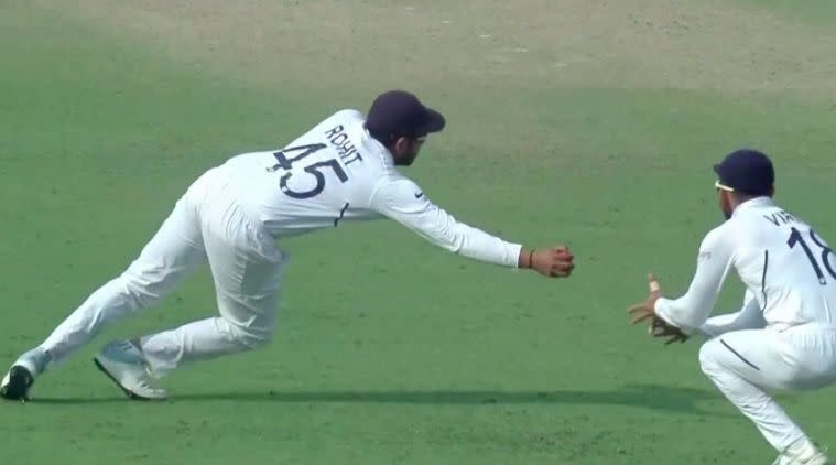 Rohit Sharma catch, Rohit Sharma stunner, Rohit Sharma one handed catch, India vs Bangladesh, Pink ball test, Eden Gardens test, India field, Bangladesh Bat
