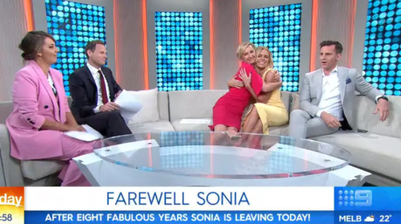 Deb Knight gives Sonia a warm hug on her last day at Channel Nine. Photo: Channel Nine.