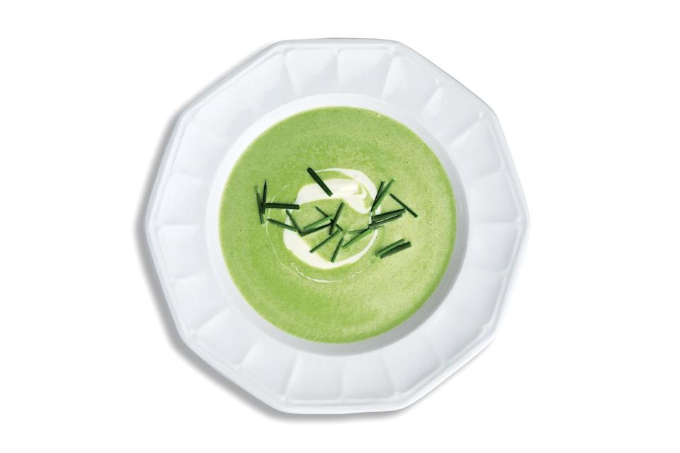 """When things in the crisper drawer aren't looking so crisp anymore, make this soup. <a href=""""https://www.epicurious.com/recipes/food/views/wilted-greens-soup-with-creme-fraiche?mbid=synd_yahoo_rss"""" rel=""""nofollow noopener"""" target=""""_blank"""" data-ylk=""""slk:See recipe."""" class=""""link rapid-noclick-resp"""">See recipe.</a>"""