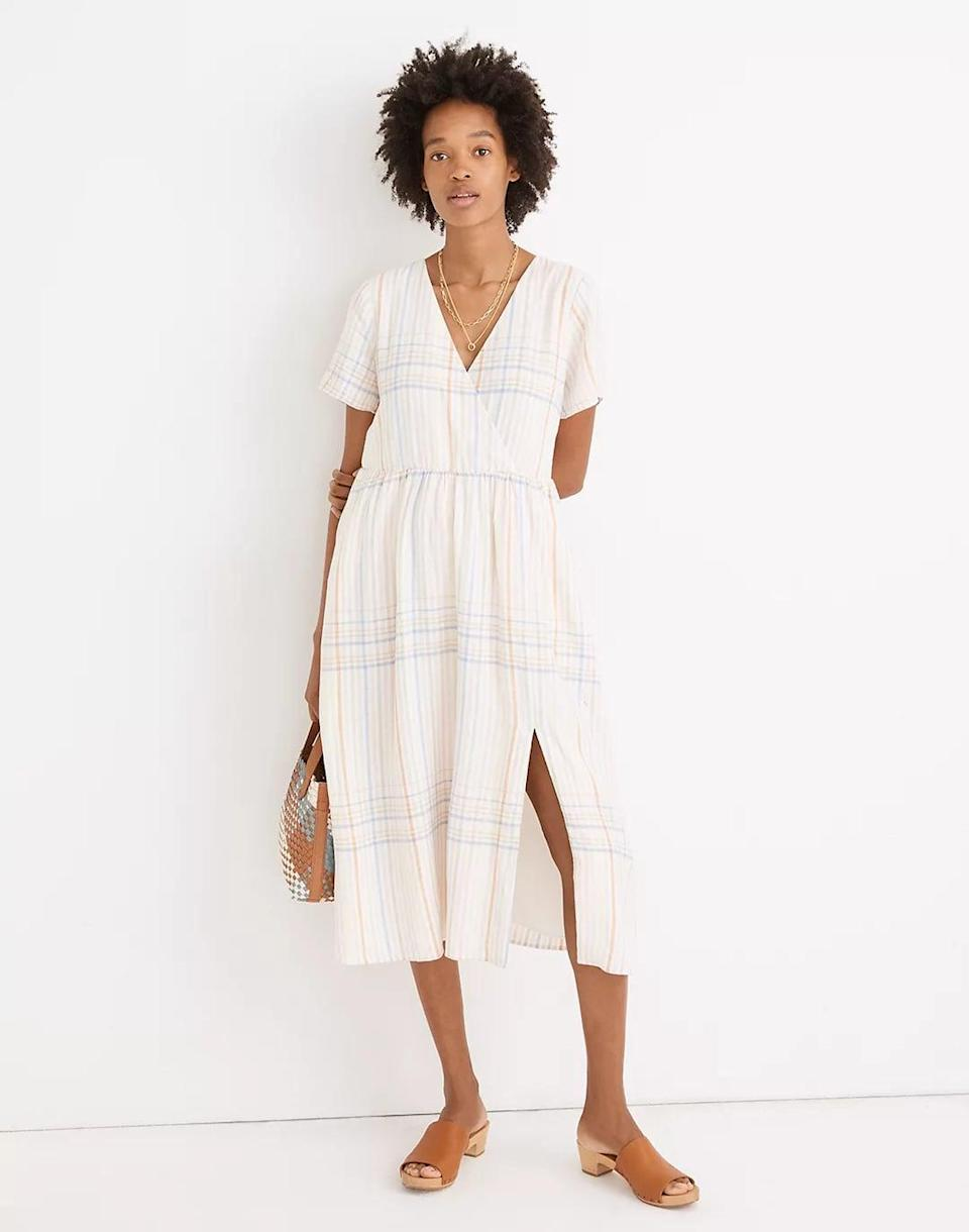 <p>Featuring a faux-wrap front, this <span>Madewell Linen-Blend Clara Midi Dress</span> ($118) is made of a sustainable linen blend that pairs well with warm summer days. It looks relaxed yet still put-together.</p>
