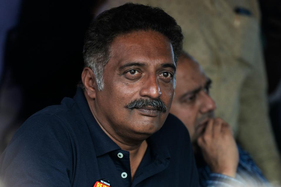 Film actor, activist and politician Prakash Raj looks on during a protest against India's new citizenship law, in Hyderabad on January 20, 2020. (Photo by NOAH SEELAM / AFP) (Photo by NOAH SEELAM/AFP via Getty Images)