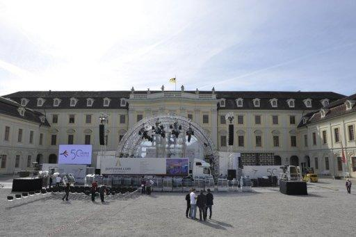 A stage is seen being installed on September 21, in front of the Baroque palace of Ludwigsburg, southwest Germany. France's President Francois Hollande and German Chancellor Angela Merkel will meet on September 22, to mark a watershed 1962 speech by Charles de Gaulle to German youth in Ludwigsburg