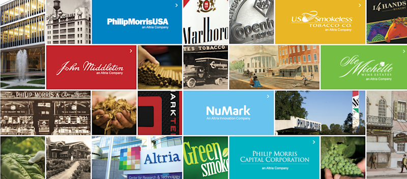 Collage with logos and products sold by Altria Group, as well as buildings and production locations.