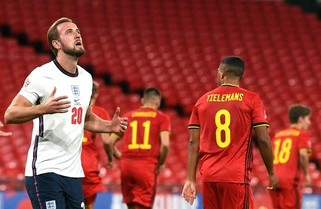 Harry Kane rues a missed header during England's Nations League win over Belgium