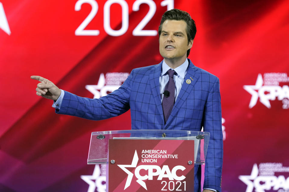 FILE - In this Feb. 26, 2021, file photo, Rep. Matt Gaetz, R-Fla.,, speaks at the Conservative Political Action Conference (CPAC) in Orlando, Fla. (AP Photo/John Raoux)
