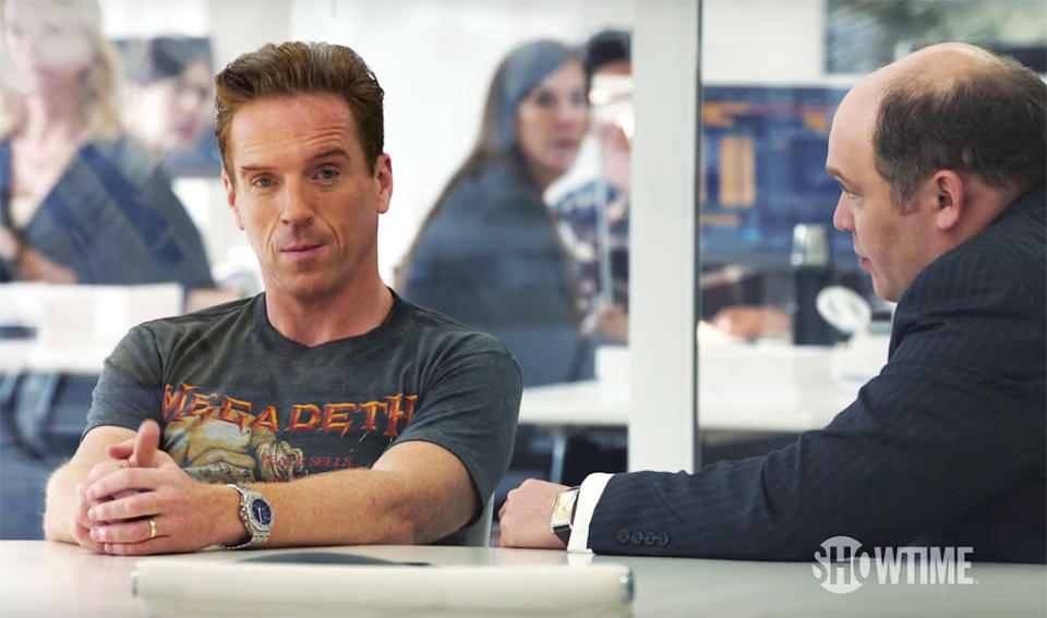 "<p><b>The Season's Theme:</b> Billionaire hedge fund manager Bobby Axelrod and U.S. Attorney Chuck Rhoades ""have a growing obsession with taking the other down,"" says co-showrunner David Levien. <br><br><b>Where We Left Off: </b> Axelrod (Damian Lewis) tore up — literally — the Axe Capital offices looking for surveillance bugs, and Chuck (Paul Giamatti) visited him at the trashed building to warn him that, with his wife Wendy (Maggie Siff) turning her back on their marriage, he had nothing left to lose. <br><br><b>Coming Up: </b> Showdowns galore. If Chuck seemed to get the last word with Bobby in the Season 1 finale, fortunes may be reversed — temporarily, at least — by the end of the Season 2 premiere. Rhoades's cohort Bryan Connerty (Toby Leonard Moore), who began losing faith in his boss right around the time Axe offered him a much more lucrative job last season. ""Connerty's soul is in the balance,"" Levien says. ""His sense of integrity versus his ambition to succeed and rise in the legal profession, it's really up for grabs this season."" <br><br><b>Familiar Faces: </b> <i>Weeds</i> star Mary-Louise Parker guests as strategist George Minchak, while other Season 2 guest stars will include Rob Morrow, Danny Strong, and Eric Bogosian. ""Eric Bogosian is a guy that's been a huge influence on us as writers,"" says Levien. ""We really gave his character a lot of really fun, intense scenes to play."" <i>— KP</i> <br><br>(Credit: Showtime) </p>"