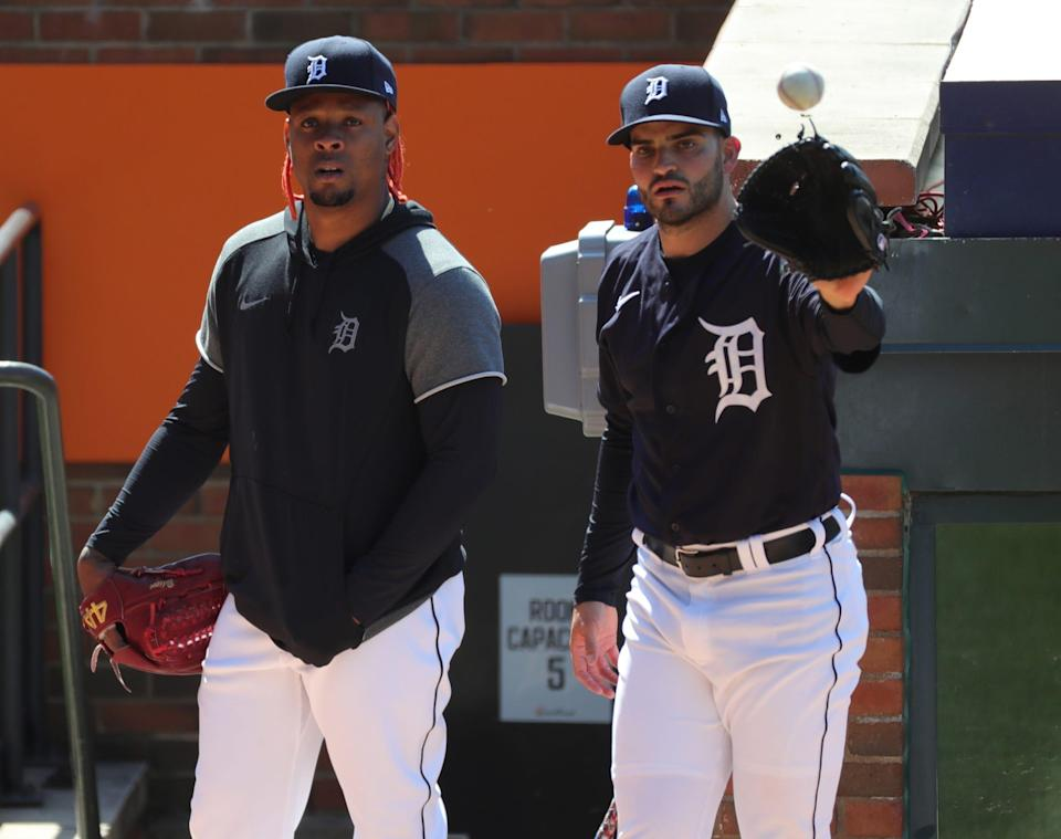 Tigers pitcher Gregory Soto watches Bryan Garcia throw in the bullpen during practice on Wednesday, March 31, 2021, at Comerica Park, a day before Opening Day against the Cleveland Indians.