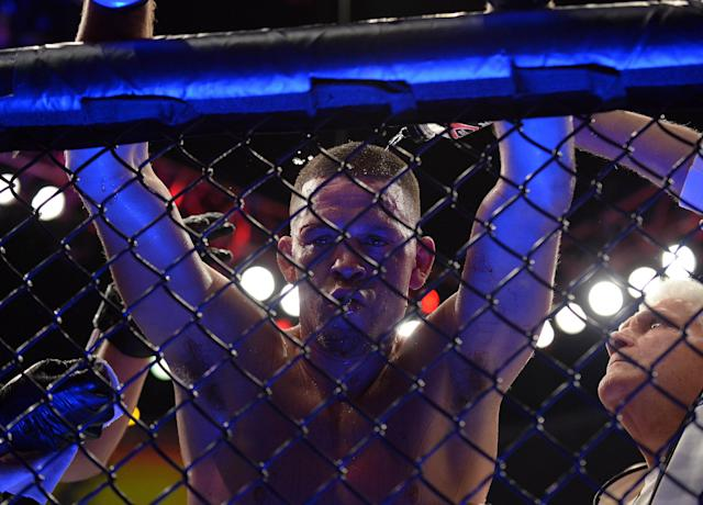 After beating Anthony Pettis at UFC 241, Nate Diaz looked to a potential fight with Jorge Masvidal. (Gary A. Vasquez-USA Today Sports)