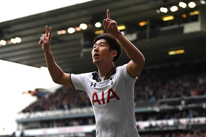 Son celebrates his 19th goal of the season for Spurs: Getty Images