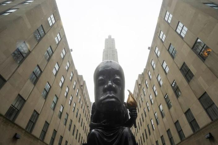 Sanford Biggers statue 'Oracle' is pictured in New York City