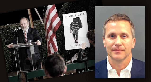 "Author Joe Klein at a Washington book party for ""Charlie Mike"" in 2015, and Missouri Gov. Eric Greitens in a police booking photo in St. Louis on Feb. 18. (Photos: Paul Morigi/Getty Images, St. Louis Metropolitan Police Dept./Handout via Reuters)"