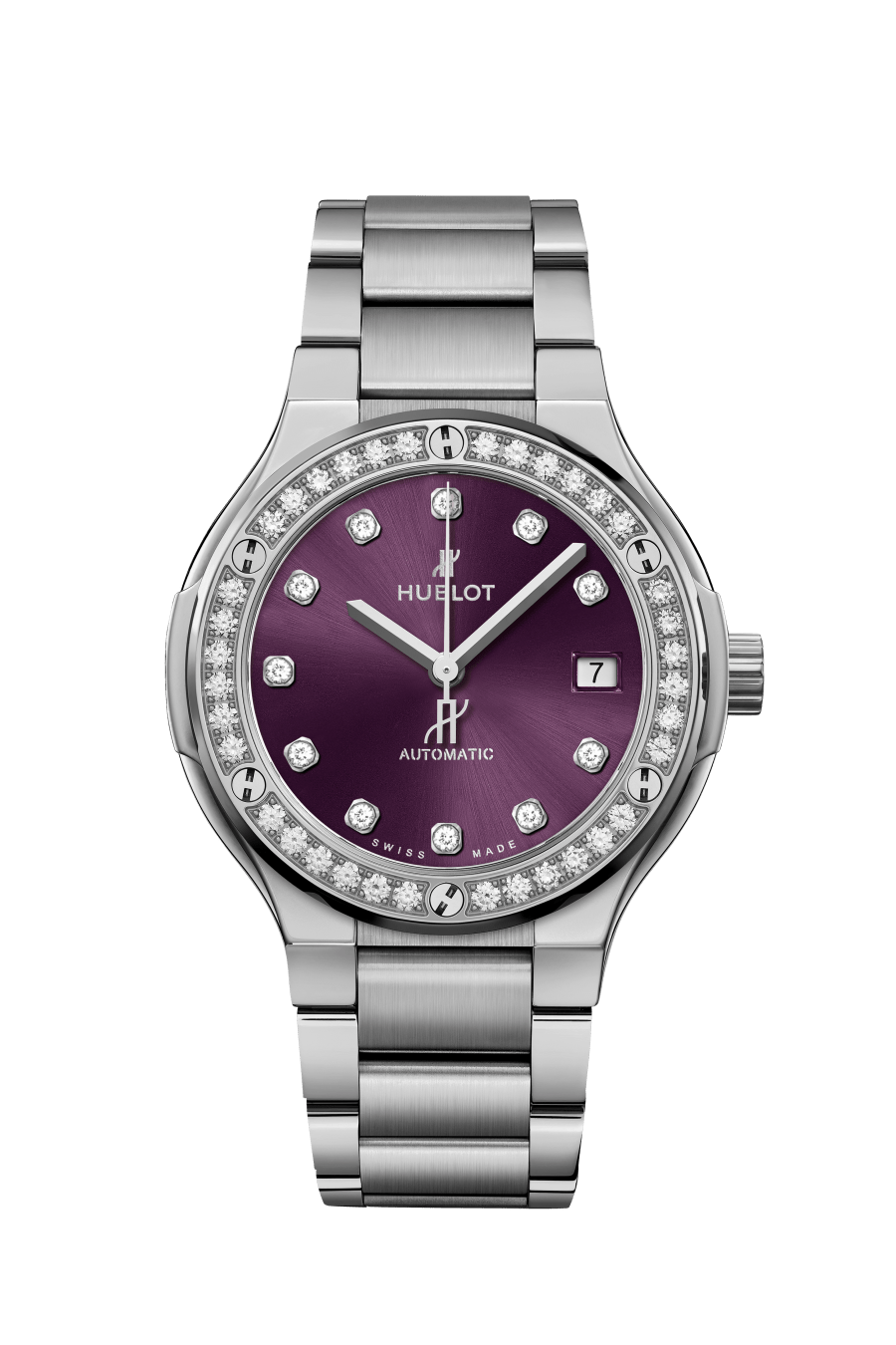 "<p><a class=""link rapid-noclick-resp"" href=""https://www.hublot.com/en-gb/watches/classic-fusion/classic-fusion-titanium-purple-diamonds-bracelet-33-mm"" rel=""nofollow noopener"" target=""_blank"" data-ylk=""slk:SHOP NOW"">SHOP NOW</a></p><p>Hublot can trace the bold outline of its latest Classic Fusion timepiece back to the heady 1980s. This latest model features a shimmering purple 'sunray' dial and a titanium bezel set with 36 white diamonds. </p><p>Classic Fusion Purple Diamonds Bracelet watch, from £9,700, <a href=""https://www.hublot.com/en-gb/watches/classic-fusion/classic-fusion-titanium-purple-diamonds-bracelet-33-mm"" rel=""nofollow noopener"" target=""_blank"" data-ylk=""slk:Hublot"" class=""link rapid-noclick-resp"">Hublot</a></p>"