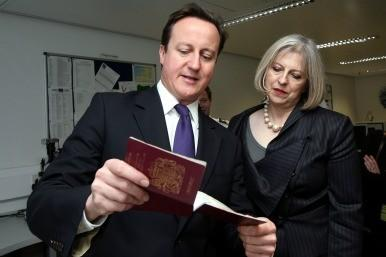 David Cameron and Theresa May visit the Borders Agency