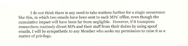 An extract from a letter sent to research funders warning that the Speaker of the House may take action over future research projects that