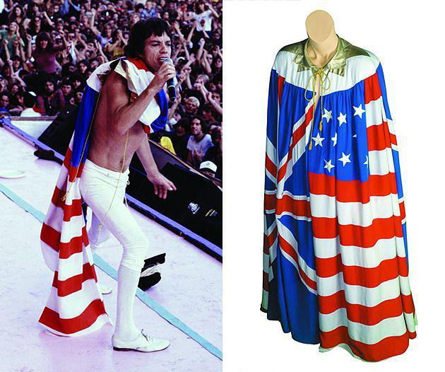 <p>Mick Jagger Stage Outfit, 1981<br> Collection of Mick Jagger<br> This outfit was worn by Mick Jagger during the Rolling Stones' 1981-1982 tours of the U.S and Europe. The cape is made from actual flags. </p>