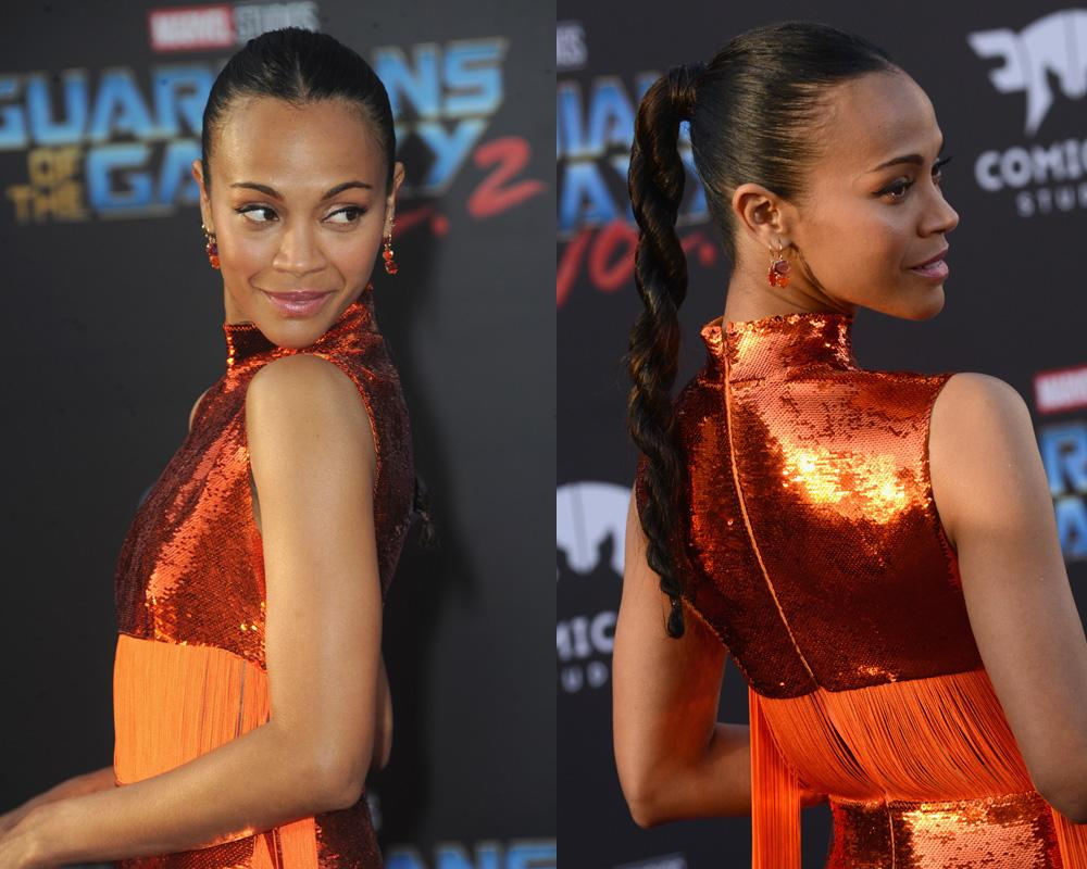 <p>The actress wore this kickass center part and rope braid to the Hollywood premiere of her new movie, <em>Guardians of the Galaxy Vol. 2</em>. We love how the hairstyle accentuates Saldana's glowing skin, berry lipgloss, and statement earrings. (Photo: Getty Images) </p>