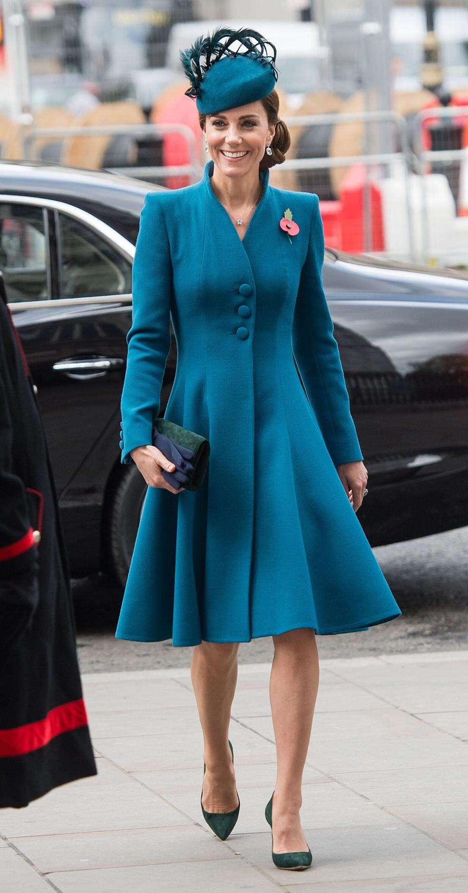 The duchess attends the ANZAC Day Service of Commemoration and Thanksgiving at Westminster Abbey on April 25.
