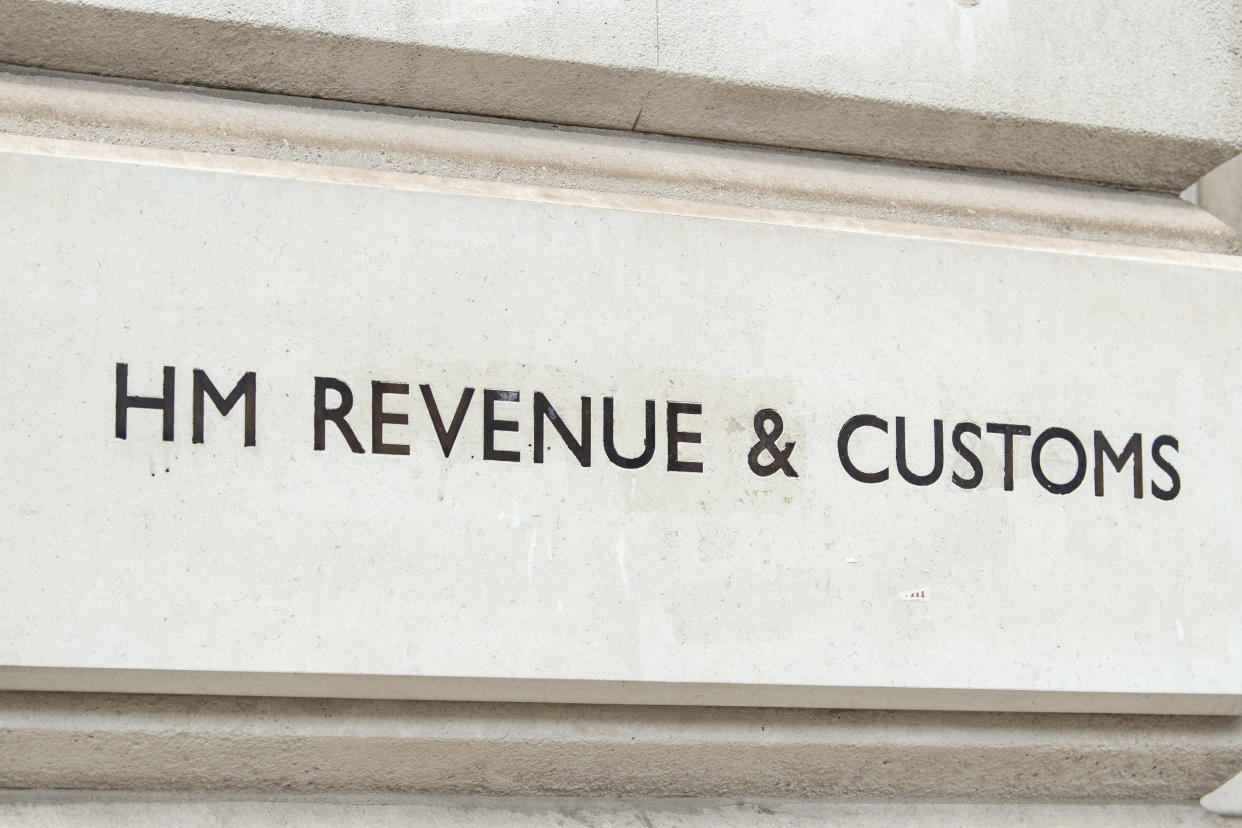 LONDON, UNITED KINGDOM - 2021/07/09: Carving with the words HM Revenue & Customs seen on their building in Whitehall, London. (Photo by Dave Rushen/SOPA Images/LightRocket via Getty Images)