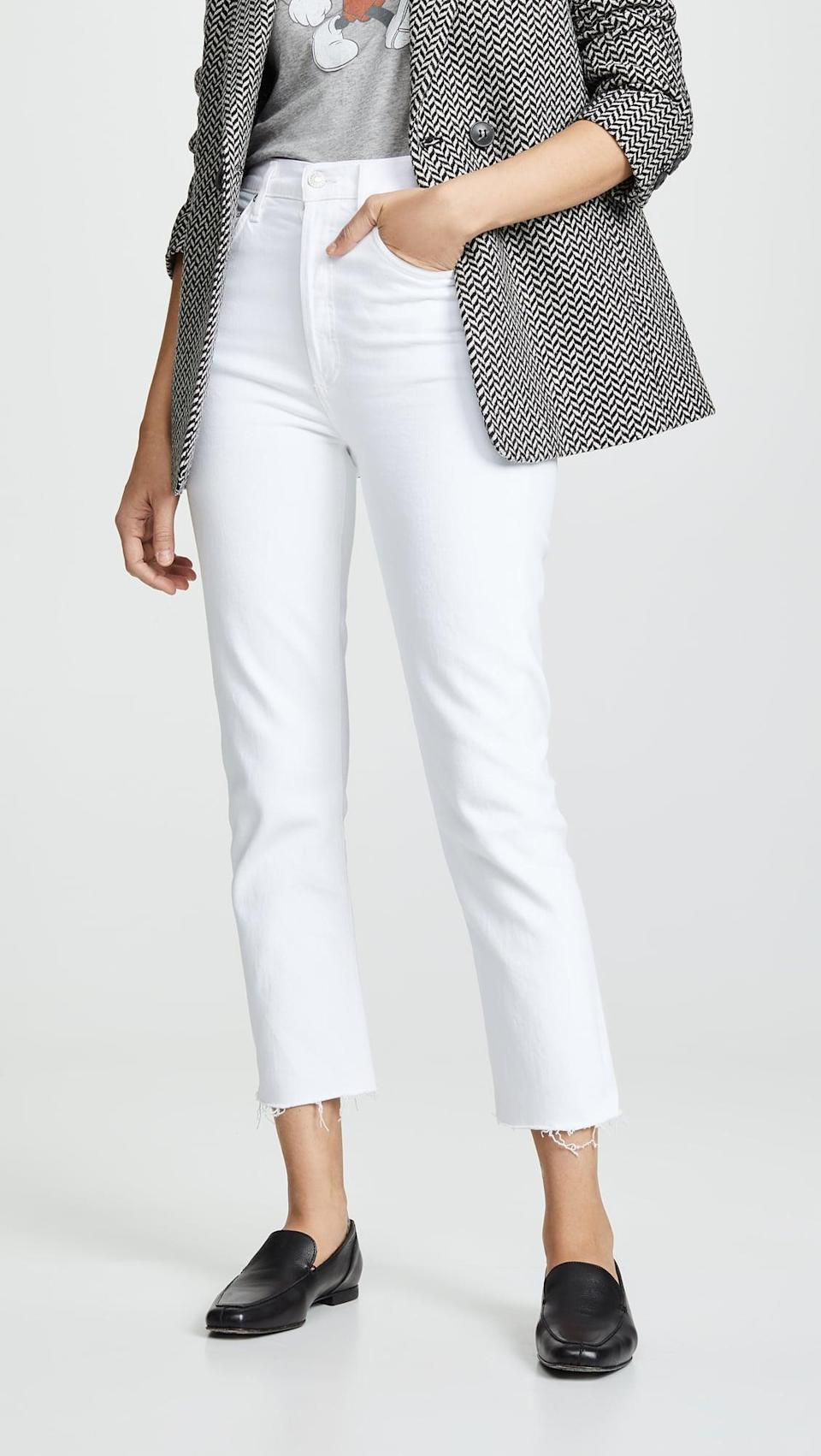"""<p>As far as flattering denim goes, Agolde continues to reign supreme in our book. The <span>Agolde Hi Rise Straight Riley Crop Jeans</span> ($178) are less rigid and have some give. """"These are hands down the best white jeans . . . Just thick enough where none of the skin imperfections stand out, like with so many other white jeans,"""" one customer wrote.</p>"""