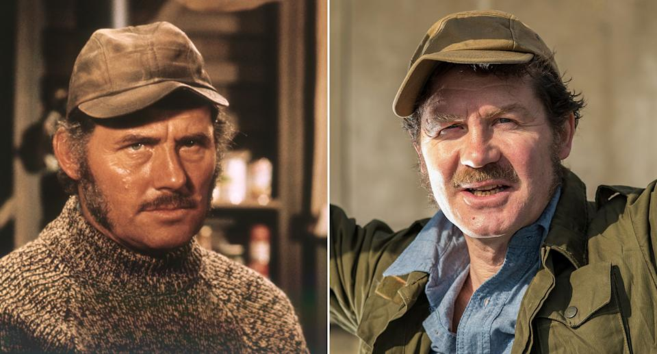 Like father, like son: Robert Shaw (l) in Jaws and Ian Shaw (r) in The Shark Is Broken (Sunset Boulevard/Corbis via Getty Images/Nick Driftwood)