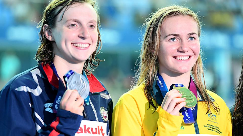Katie Ledecky and Ariarne Titmus, pictured here at the 2019 world championships.