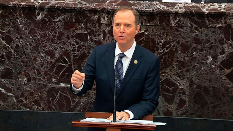 Rep. Adam Schiff argues the prosecution's case against President Donald Trump on Wednesday. | AP/Shutterstock