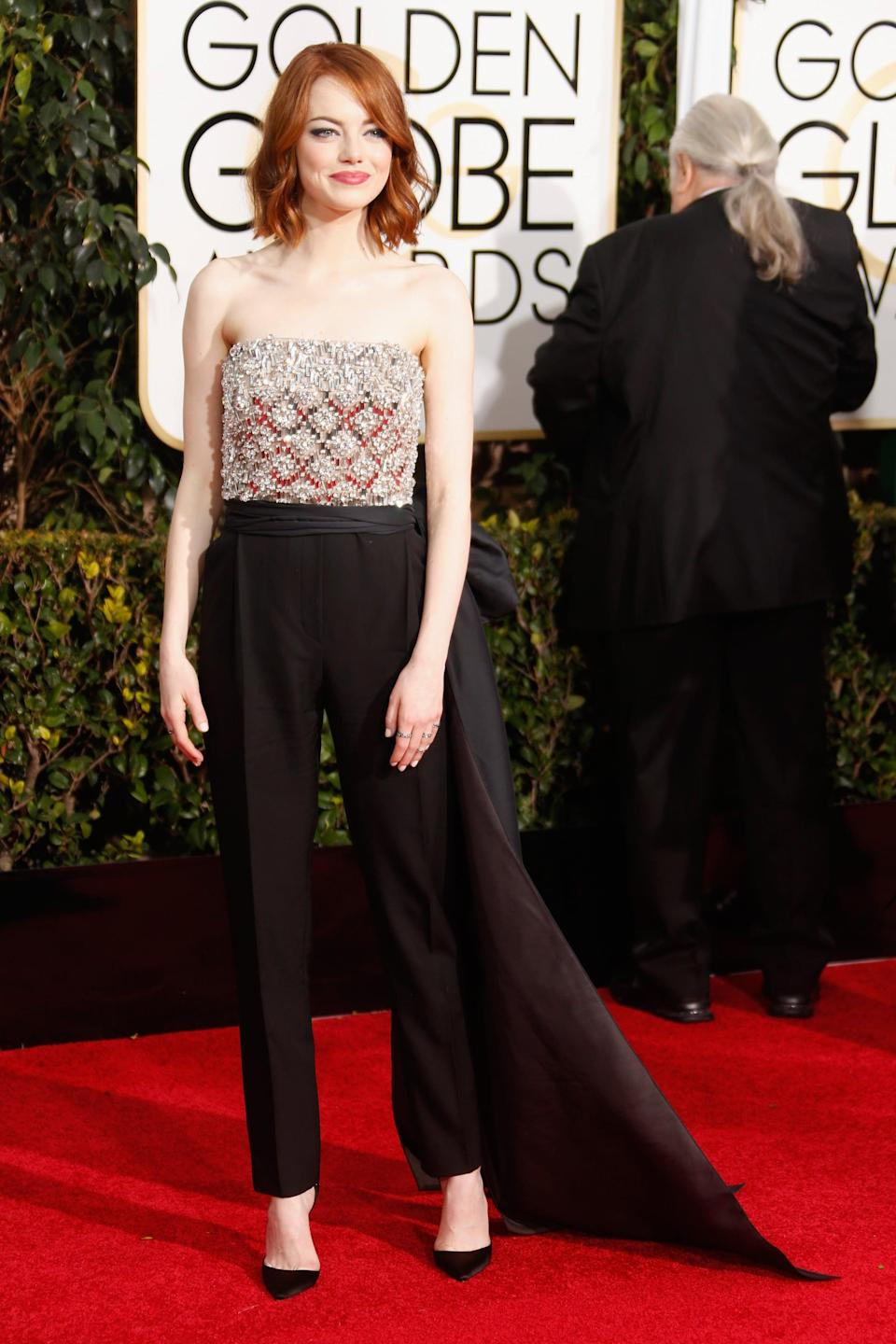 <p>Emma wore Lanvin to the 2015 Golden Globe Awards.</p>