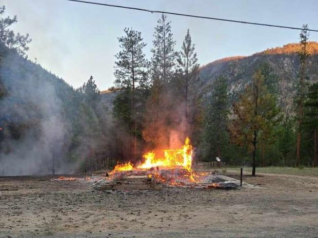 A fire destroyed the Chopaka church on the Lower Similkameen Indian Band reserve in B.C. in the early hours of Saturday, June 26, 2021. (Submitted by Chief Keith Crow - image credit)