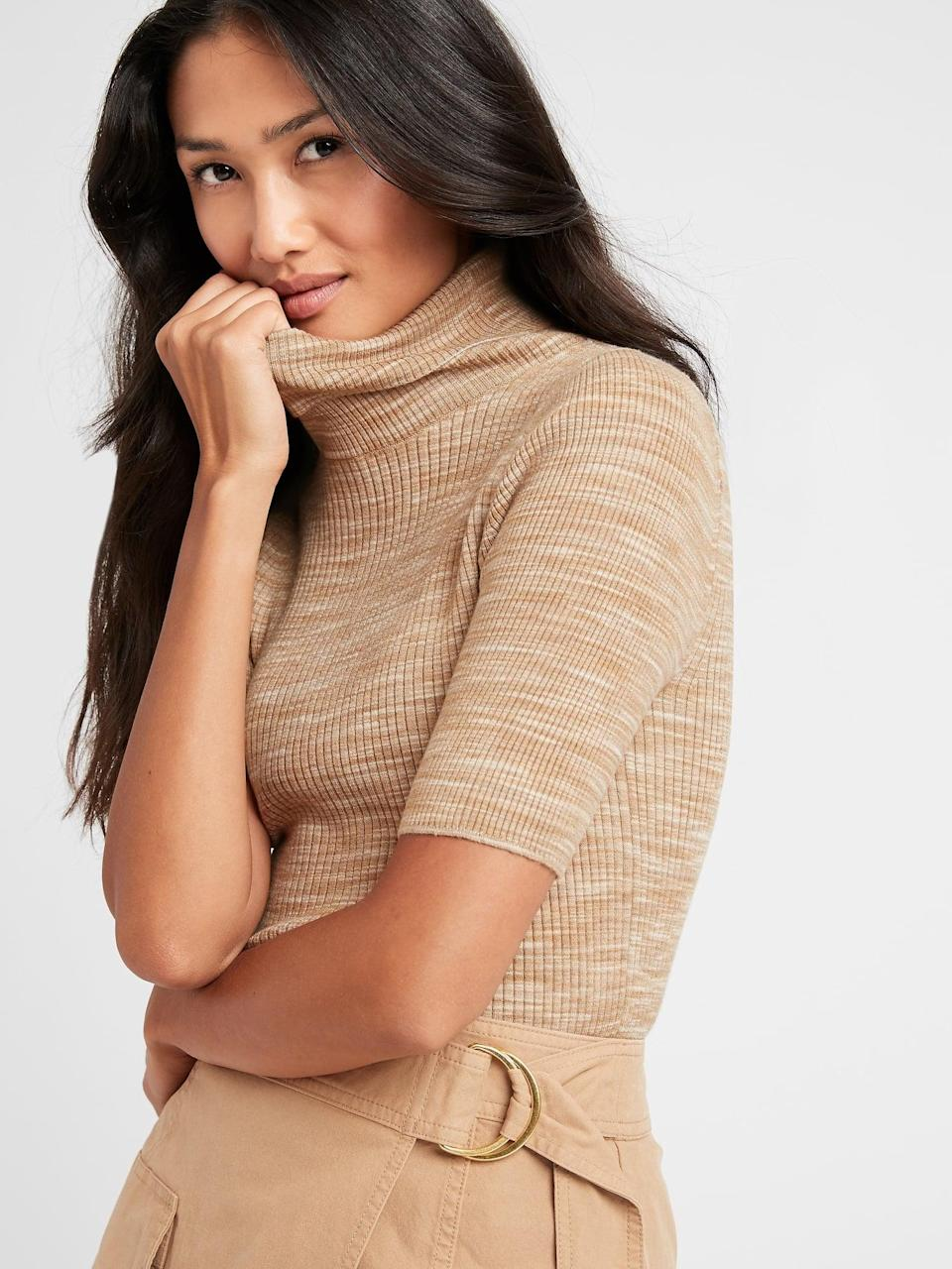<p>Warm up in this soft-looking <span>Space-Dye Turtleneck Sweater Top</span> ($55, originally $70).</p>