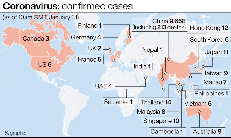 This graphic shows coronavirus cases confirmed worldwide, as of 10am on Friday (PA Graphic)